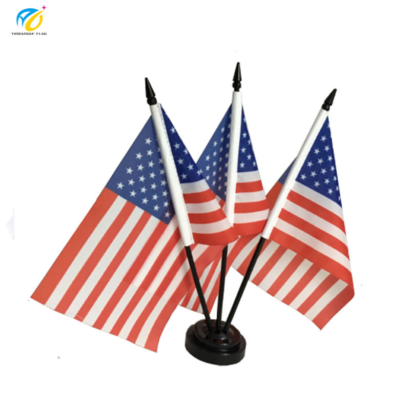 "4""x6"" Miniature USA American Flag Desk Set with Black Base"