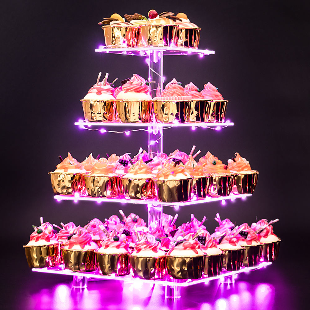 4 Tier Acryl Cup Cake Stand met LED String Lights Clear Gebak Dessert Display Stand