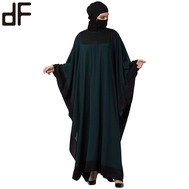 muslim abaya arab kaftan black and green color matching elegant high collar robe solid color bat sleeve women's dress