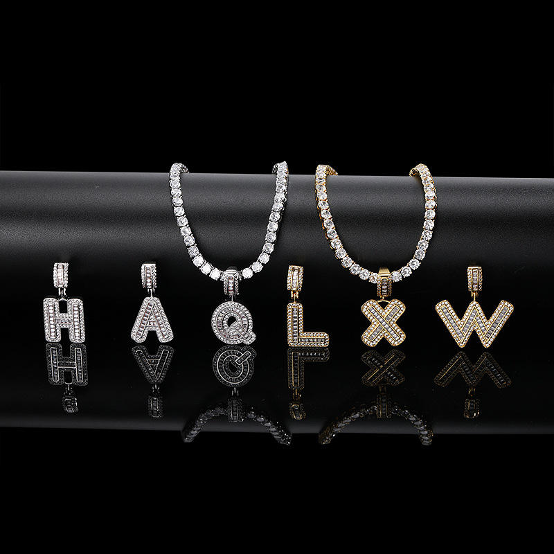 Iced Out Baguette Initials Pendant Men's Hip Hop Name Plate Letters Necklace for Men