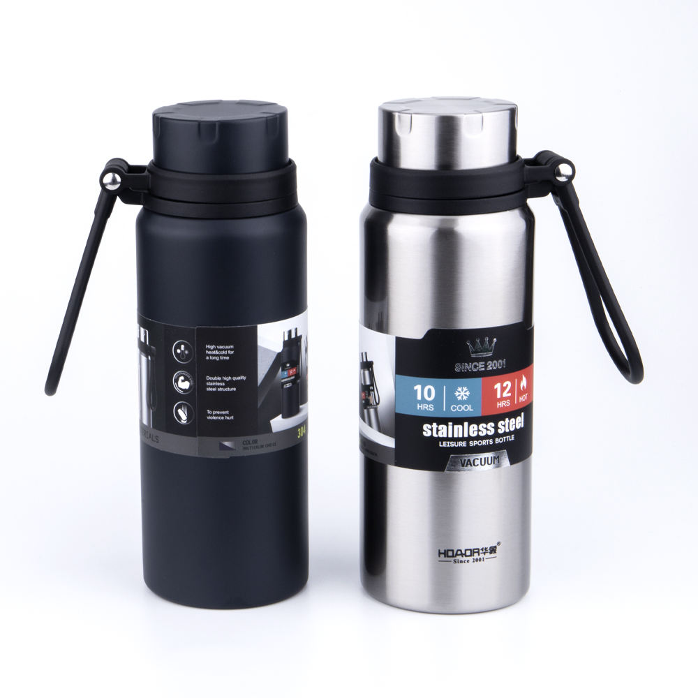 Custom Logo Double Wall Vacuum Insulated Stainless Steel Water Bottle Wide Mouth Sport Thermos Flasks
