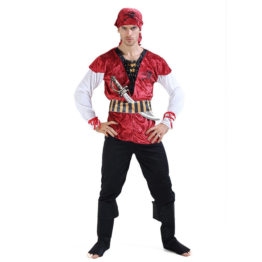Pirate Buccaneer Vest Men/'s Large Red Twill  Halloween Fantasy CosPlay Costume