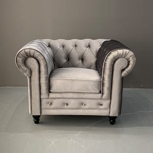 Fabric Chesterfield Tufed Sofa Furniture Sets Silver Grey Velvet Sofa Couch Living Room