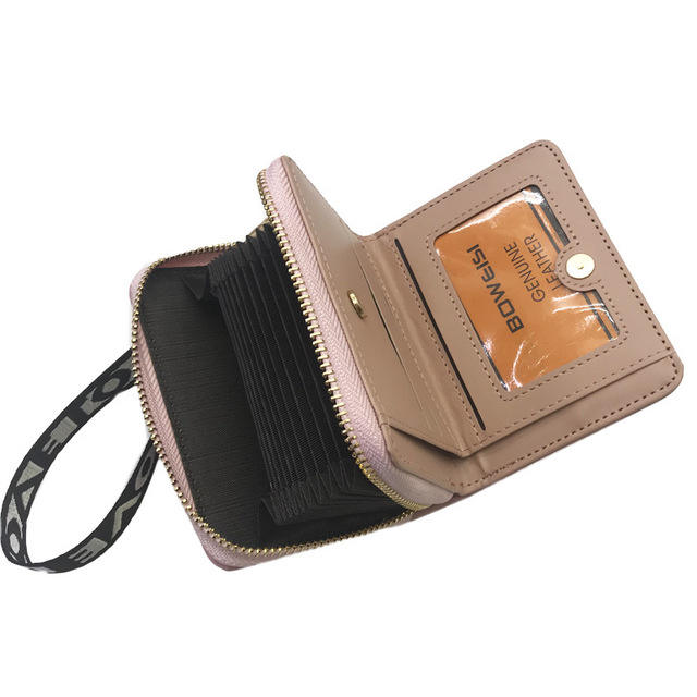 WA8140 New zip cheap ladies small bitcoin wallet credit card holder slim wallet euro coin holder wallet with chain for girls