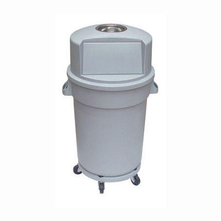 120L Plastic Grey Circular Press top lid Garbage Can Trash bin Dust binwith ash tray with wheel base for America market