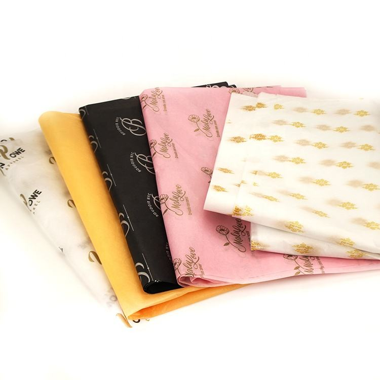 Low Moq Luxury Thin Paper Custom Logo Printed Wrapping Tissue / Silk Paper