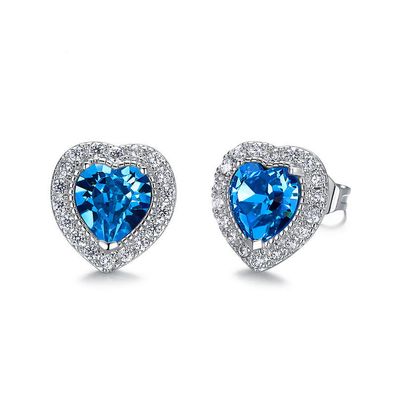 DY European and American style S925 pure silver heart shaped earrings colorful crystal female Earrings