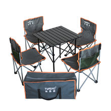 Wholesale Medium size Portable roll up folding aluminium camping table with 4 folding chair table sets