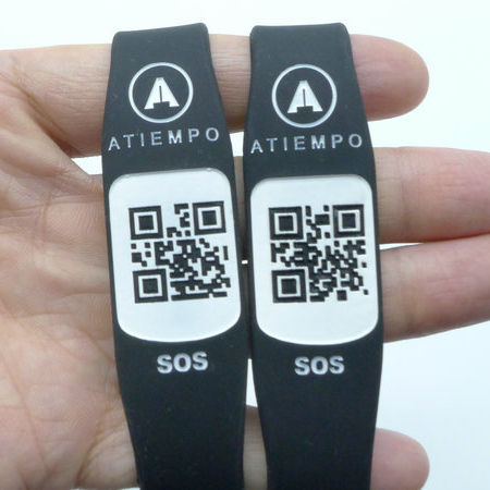 Custom Bar Code ID Wristbands QR Code Silicone Bracelet for Advertising Gift