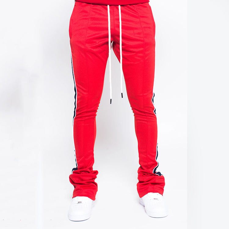Costom coulisse in vita side stripe skinny slim fit mens pantaloni pista jogger impilati jogging