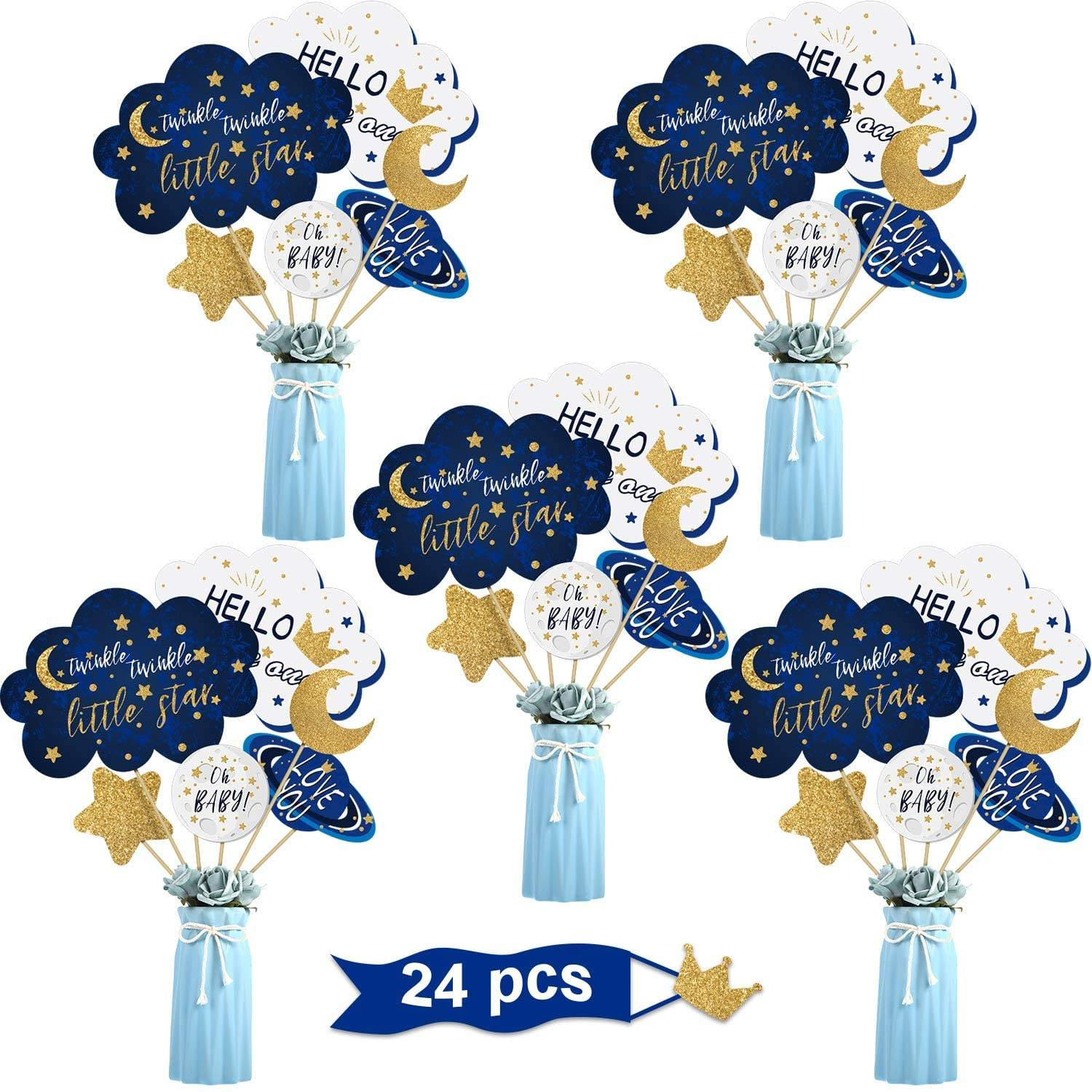 24 Pcs Twinkle Little Star Table Toppers Birthday Party Supplies Baby Shower Decorations