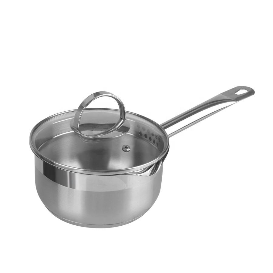 MSF-8159-1 custom logo 18/10 stainless steel sauce pan with strainer lid