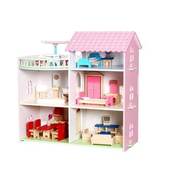 Custom Children'S Pretend Toys Educational Wooden Children Diy Dolls Big Wooden Doll House