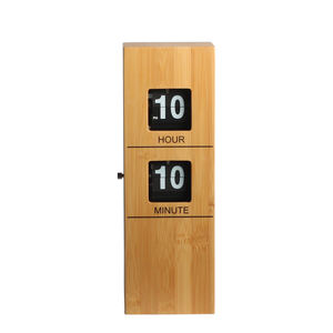 2020 New Factory Price Quartz Movement Homes Business Gift Pendulum Bamboo Metal Plastic Wood Wooden Wood Flip Table Desk Clock