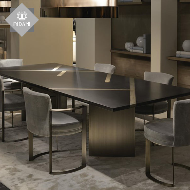 Contemporary Wooden Italian Stainless Steel Leg Dining Chairs Customizable Luxury Royal Modern Restaurant Dinning Chairs