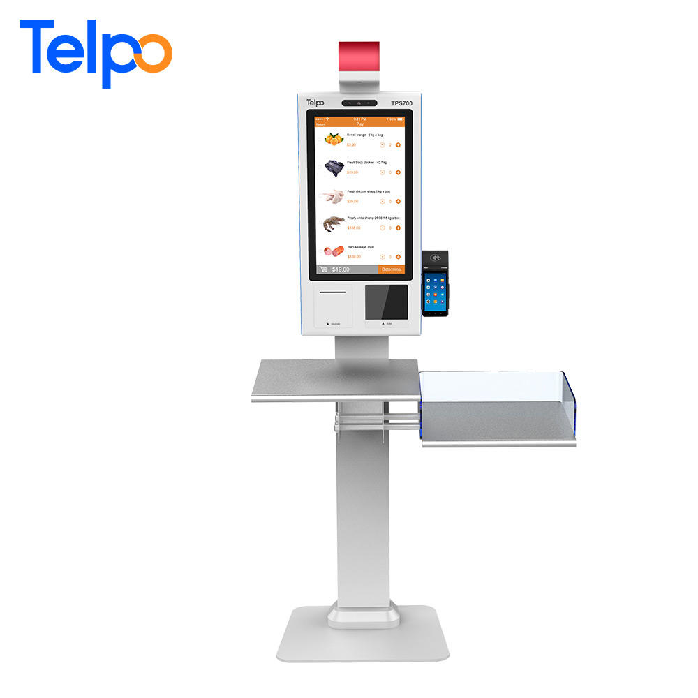 WiFi/Bluetooth/Ethernet stand-alone retail self order/checkout scanner kiosk with check-out desk
