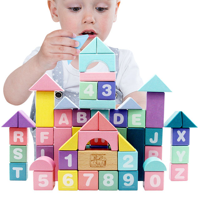 Montesorri educational kids Custom Wooden blocks set toy 61pcs big wooden building block toys with macarons color for toddler