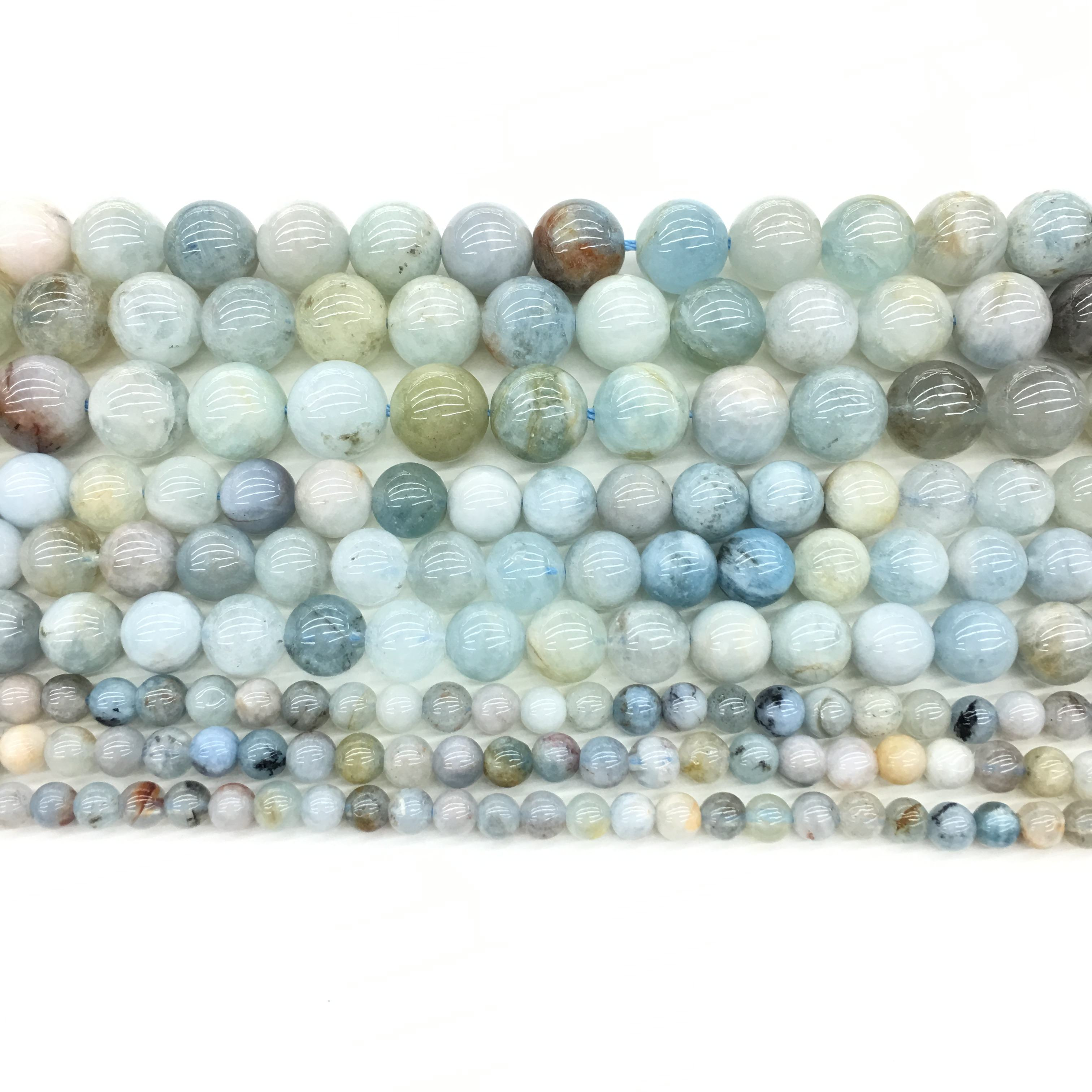 Natural Aquamarine Round Loose Bead highly Polished Gemstone for Jewelry making and custom design A-Quality 16inch