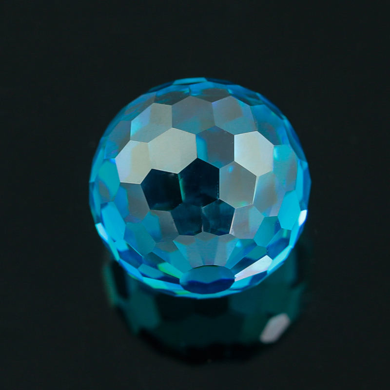 Lab Created Cubic Zirconia/CZ 15mm Faceted Ball Shaped Synthetic Aquamarine