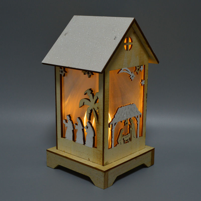 Hot selling LED Warm White Shabby Chic Wooden Light Up House Light Christ nativity scene Xmas Christmas Party