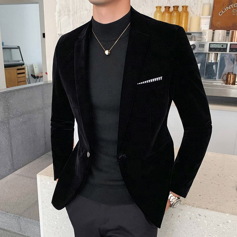 Wholesale custom logo business style softer velvet slim fit jackets mens blazers homme casual man suits