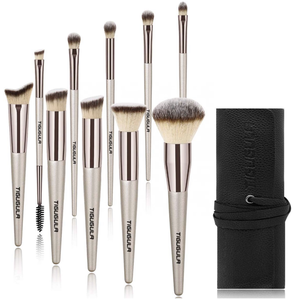 10pcs champagne makeup brush set gold cheap buy custom logo private label vegan fur wood make-up brushes with case with pouch