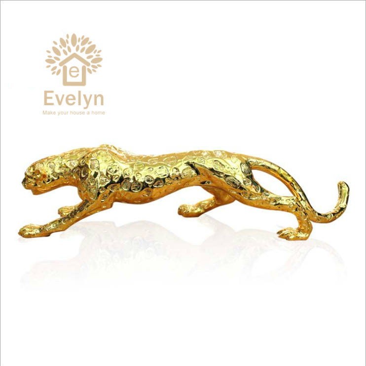 Luxus gute preis tier figurine harz gold leopard für home/ office decor