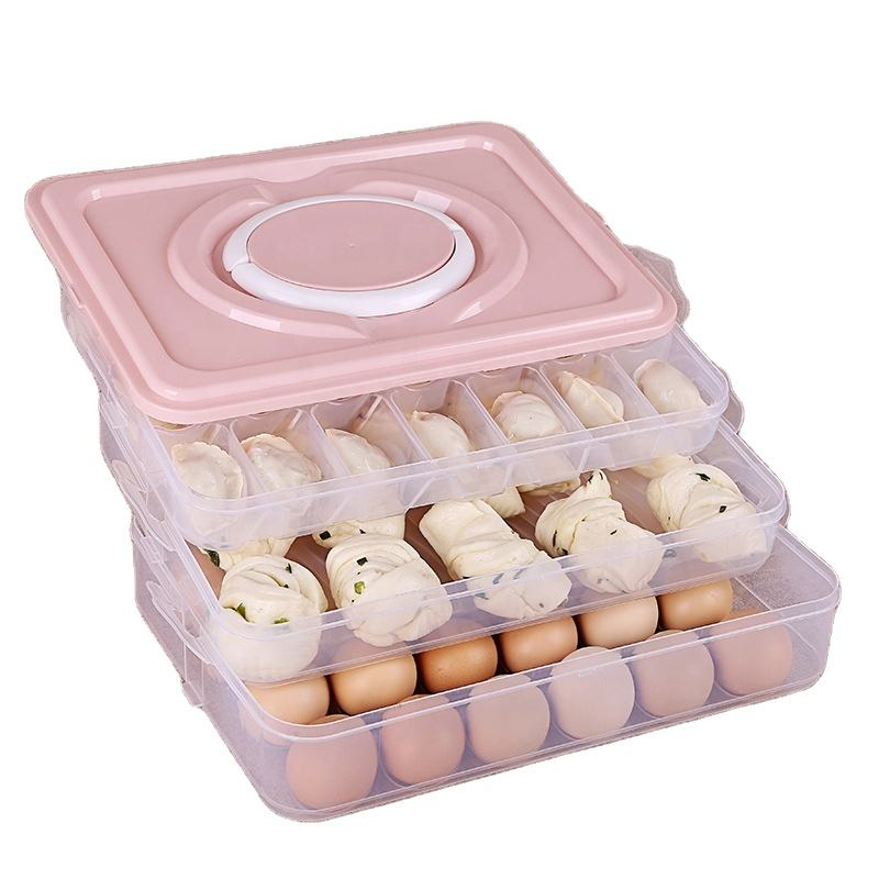 Hot sale pp material clear egg storage container kitchen dumplings 3 layers egg storage box refrigerator 2 tiers