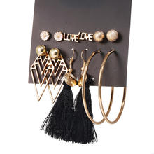 6pairs/lot hoop tassel jewelry sets earring