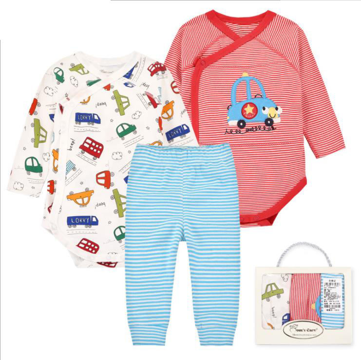 2019 Wholesale infant baby sleeping suits newborn clothing long sleeve 100% cotton grow romper whole set