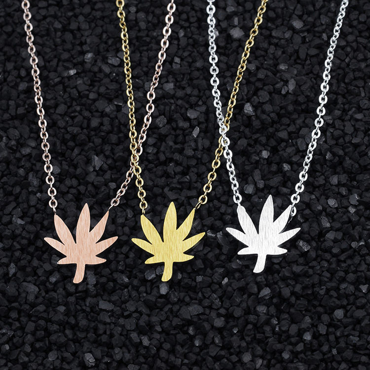 Dainty gold plated stainless steel weed leaf pendant necklace for women girls