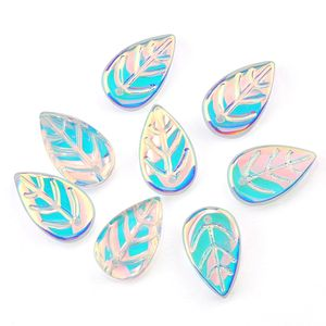 9x18mm Glass Leaf Hairpins Decoration Smooth Crystal Beads Crystal Charms Pendant for Jewelry DIY Earring Accessories