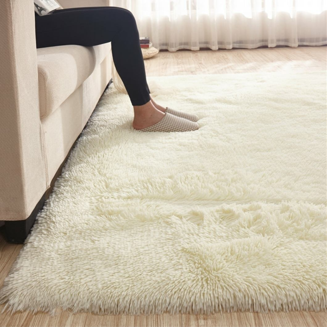 Solid Color Shaggy Indoor Rugs And Carpets For Home Living Room Carpet Kid Room Area Rug For Bedroom Rug Slip Resistant