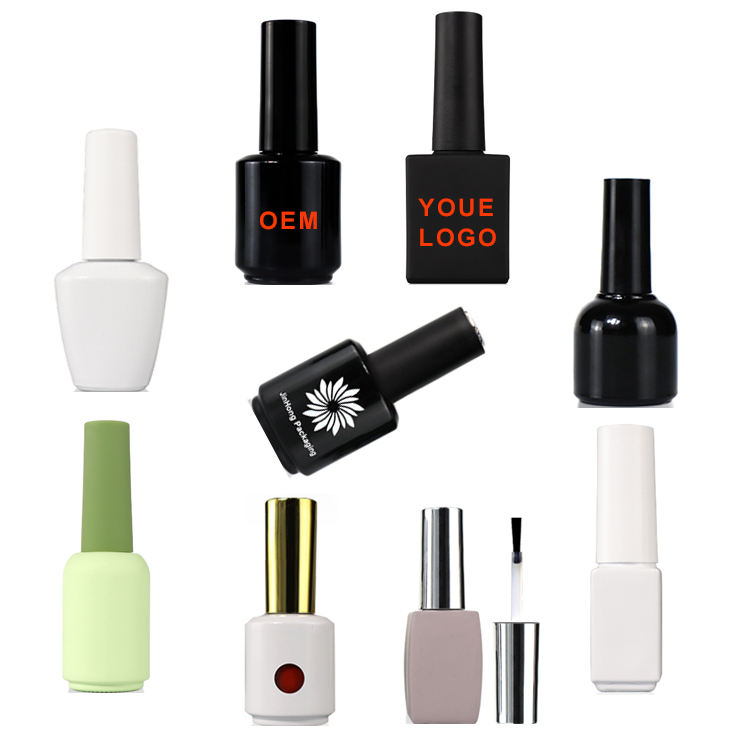 OEM customized logo nail polish containers galss unique empty nail polish bottles 15ml with brush