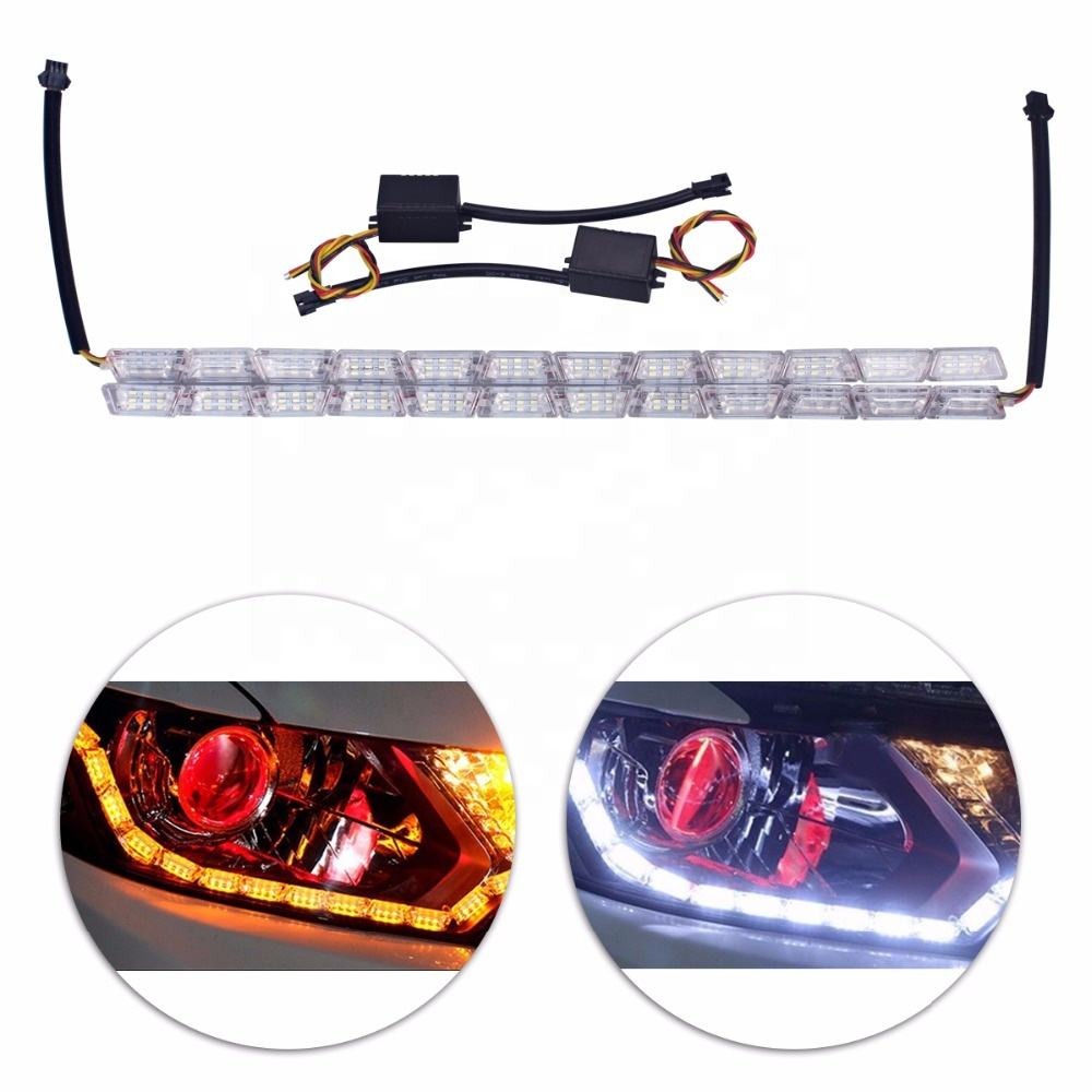 Hot selling auto accessoires snake day time running light led tear ogen wit amber drl strip licht voor auto