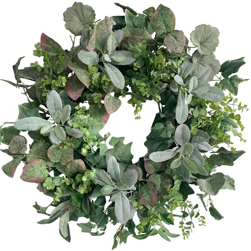 lambs ear wreath eucalyptus wreath grapevine base hot selling support OEM