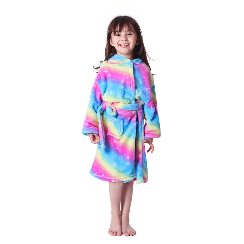 Children Towel Beach Baby Bath Robe Animal Rainbow Unicorn Hooded Bathrobes For Boys Girls Pajamas Nightgown Kids Sleepwear Robe