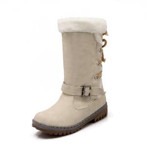 2020 payless Bottes En Cuir à talons hauts taille Hiver neige Femmes Vintage Punk Bottes Plates Dames Chaussures