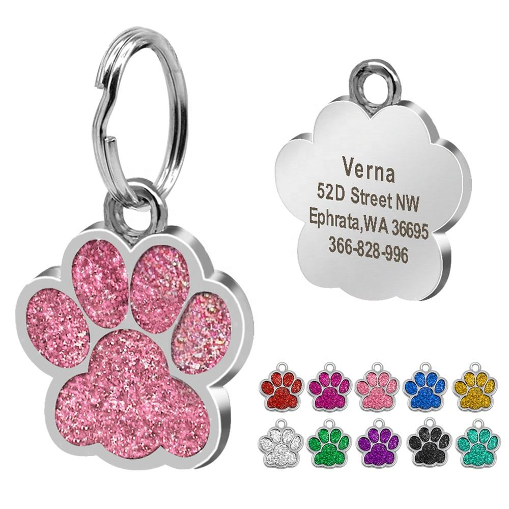 Berry Popular Paw Shape Anti-Lost Personalized Alloy Laser Engraved Pet ID Tag For Pets
