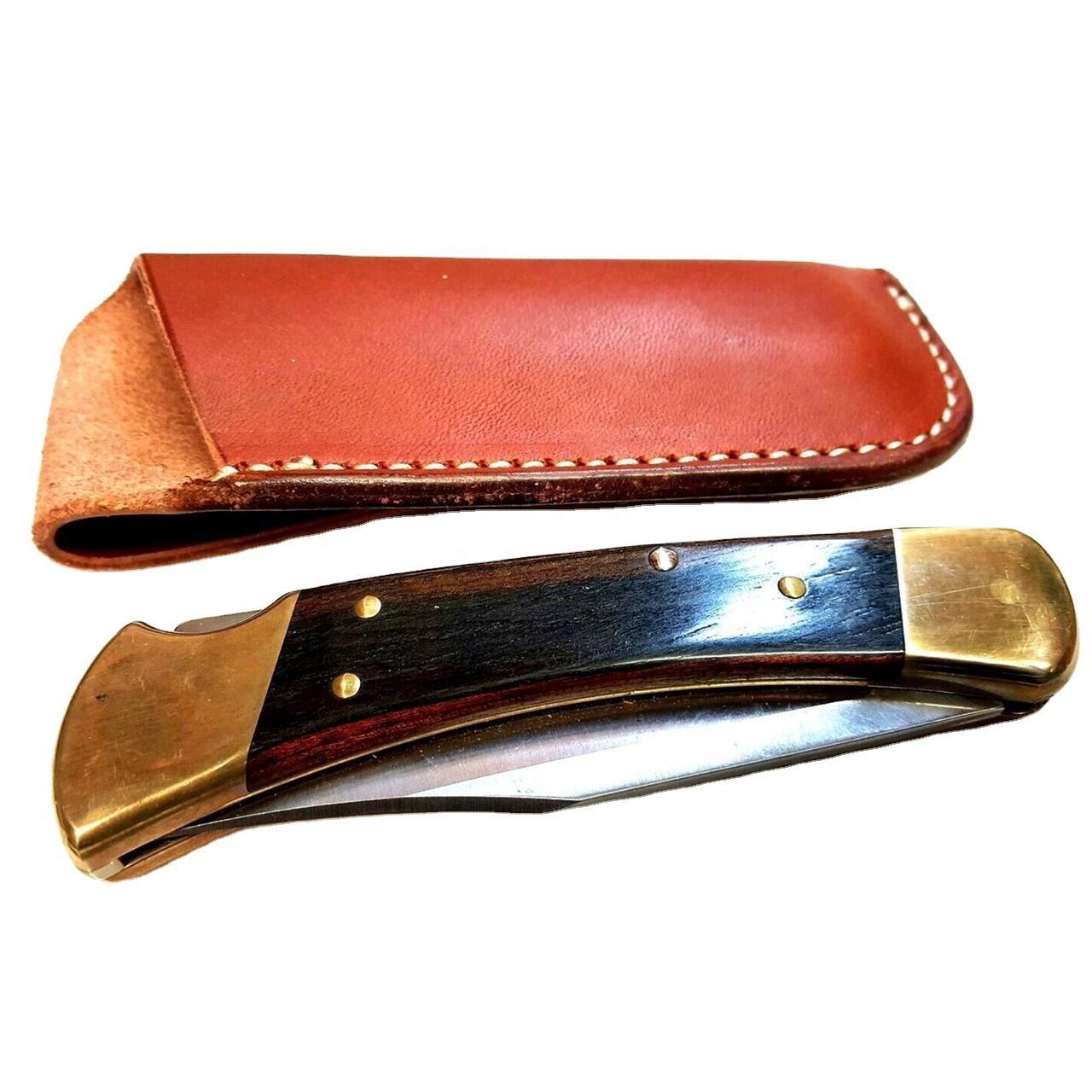 Tanned Harness Leather Pocket Knife Sheath For Buck 110 Folding Knife