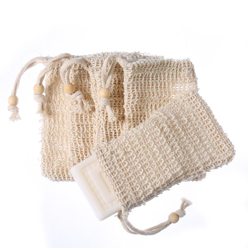 Wholesale Exfoliating Bamboo Cotton Jute Foam Sisal Soap Bag Personal Cotton Soap Mesh Bag