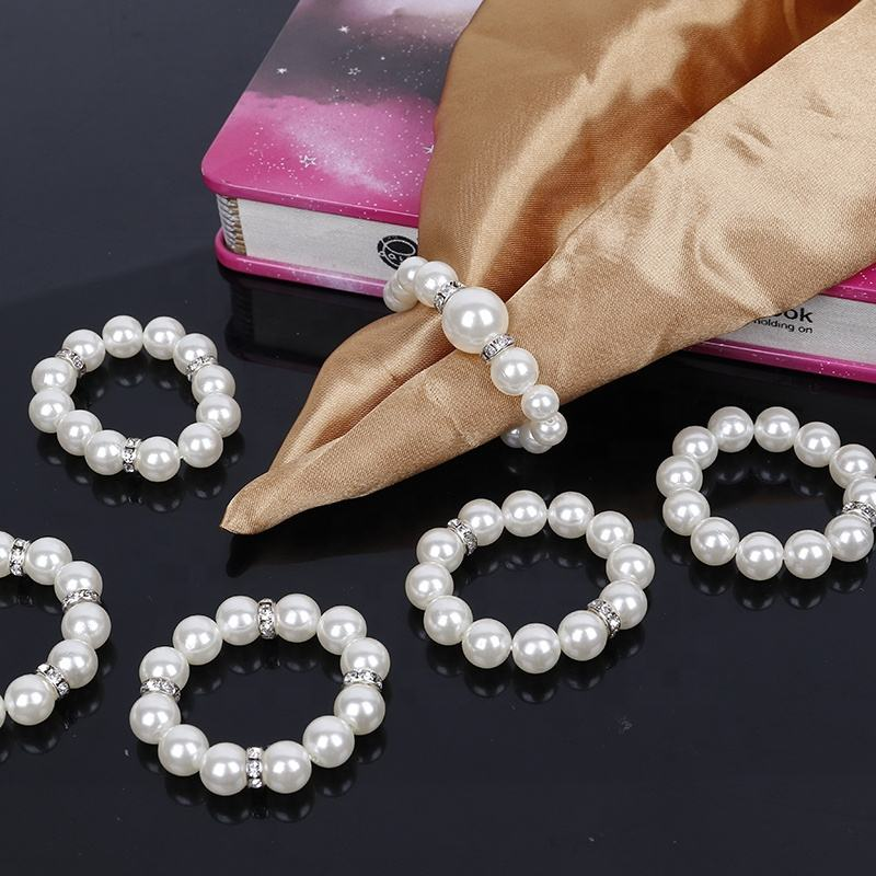 Wholesale Cheap Pearl Napkin Rings Silver Wedding Napkin Ring Rhinestone Napkin Holder for Dinner Table Decoration HWP27