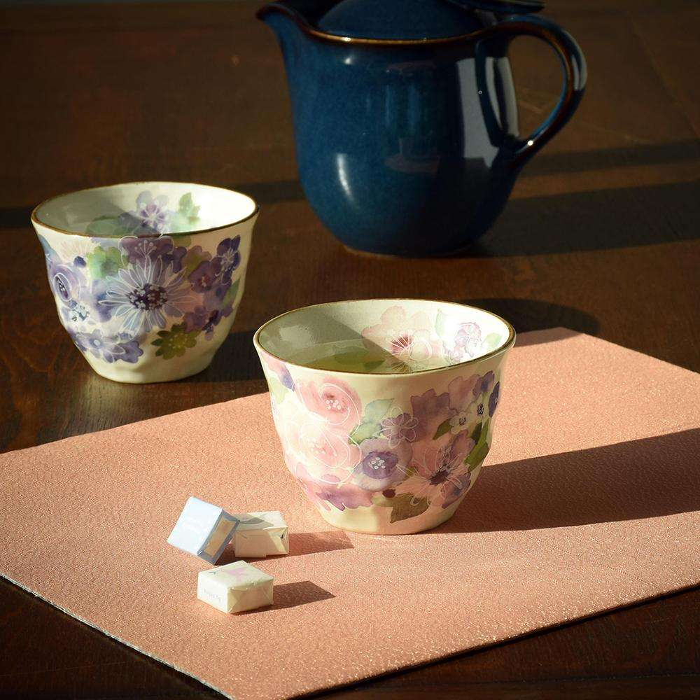 Carefully fabric delicate florals ceramic carrier cup for tea