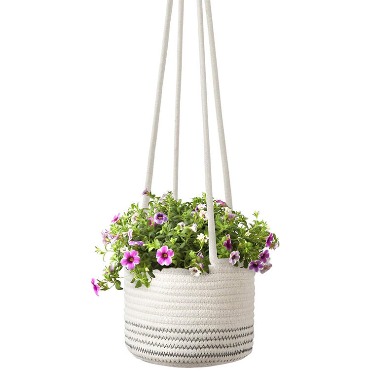 Natural High quality pots seagrass and cotton rope hanging plant basket plant weaving hanging basket for plants