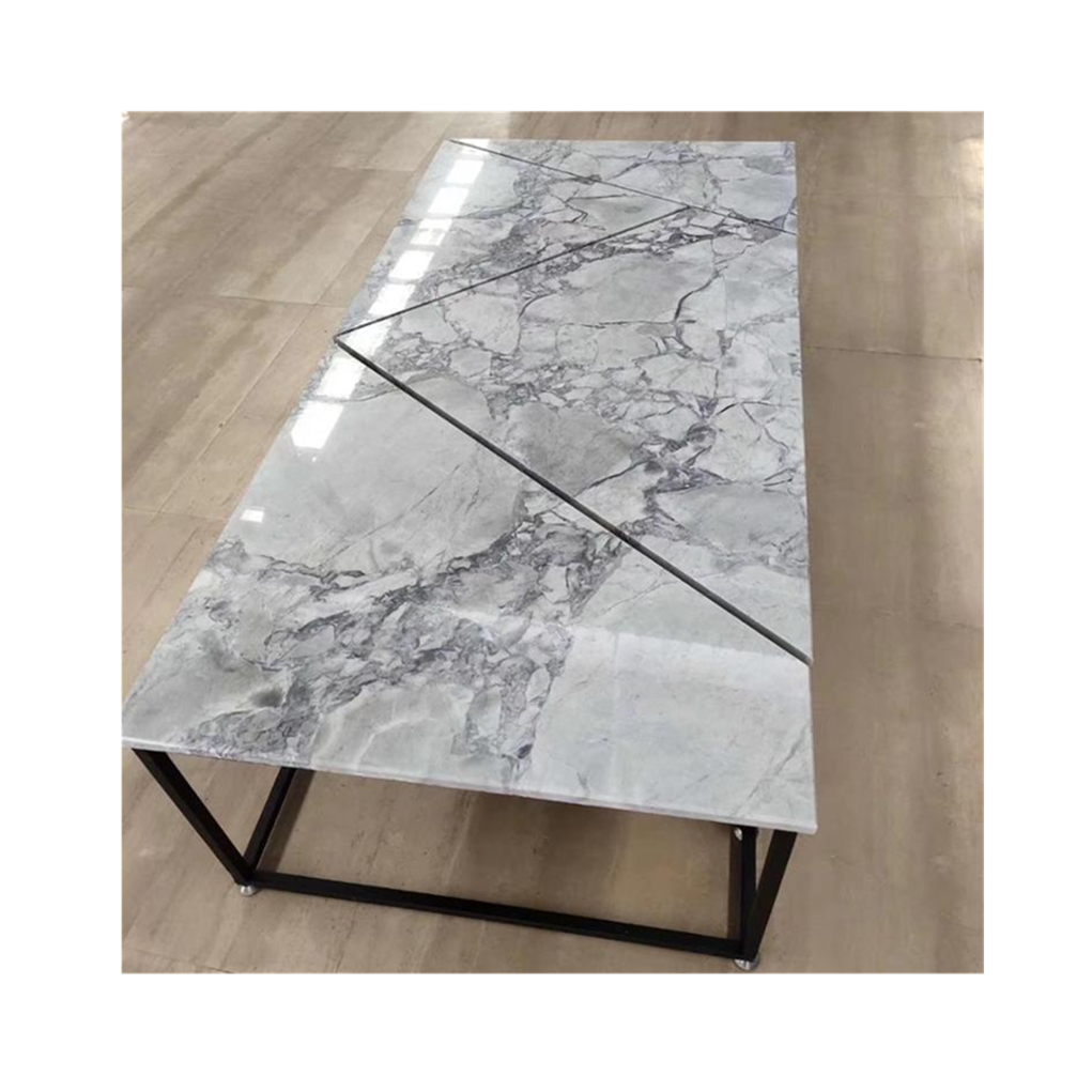 polished super white quartz slab, calacatta grey marble table top