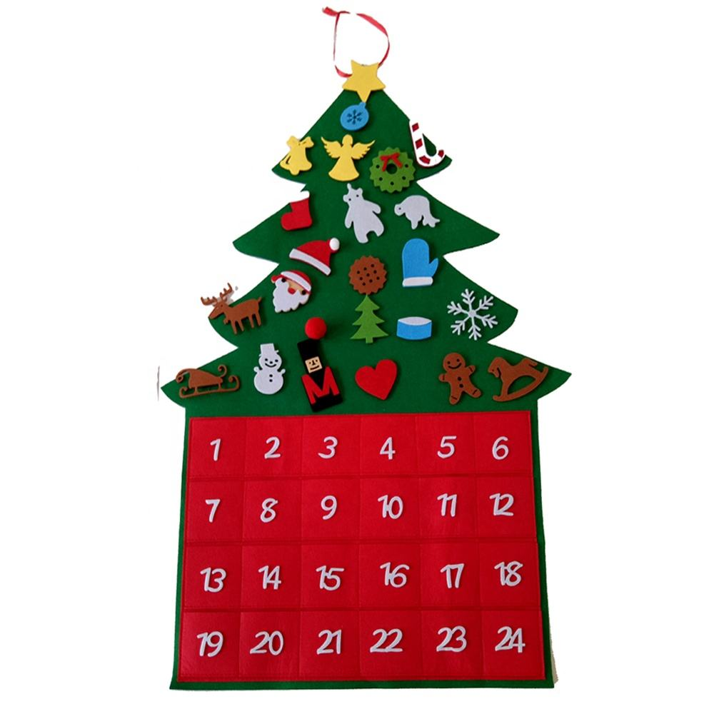 Felt Christmas Tree Avdent Calendar for Kids Christmas Gift