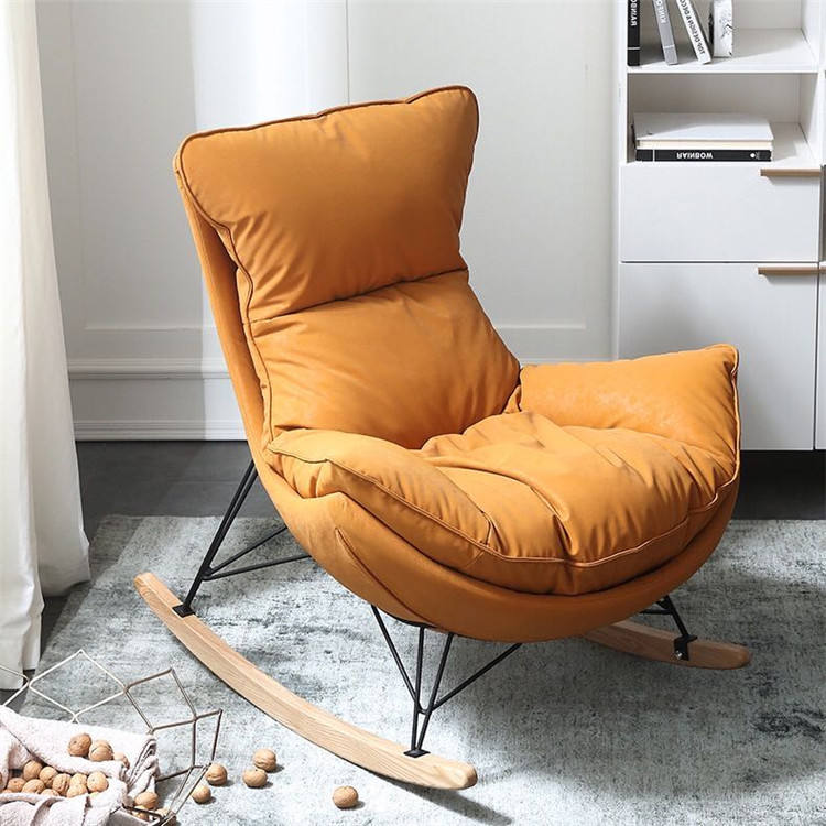 Modern new design of stainless steel leisure velvet chair, leisure fabric nordic chair, classical designer rocking chair