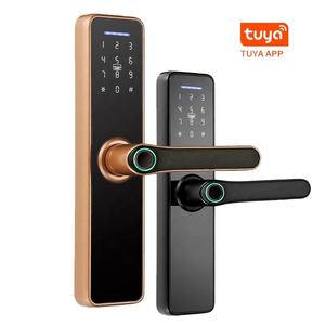 Pintu Aluminium Manual Smart Wifi Sidik Jari Biometrik Handle Digital Hidup App Stainless Steel Tuya Kunci