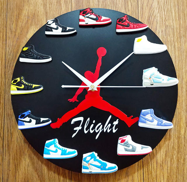 Dropshipping gros 3d mini chaussures sneaker horloge montre avec aj chaussures sneaker horloge murale