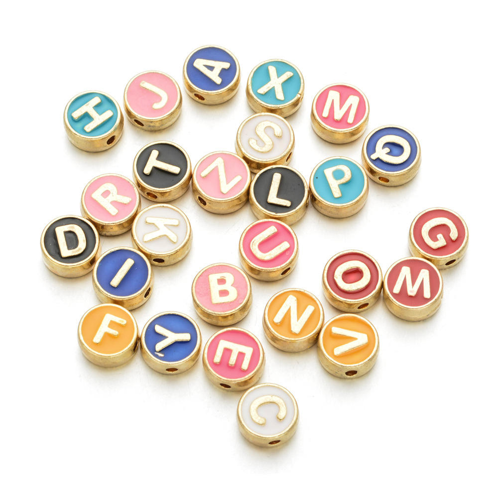 100pcs/ bag Mixed Colorful Gold Plated 26 A-Z Enamel Initial Letter Alphabet Beads Spacers Charms for jewelry making